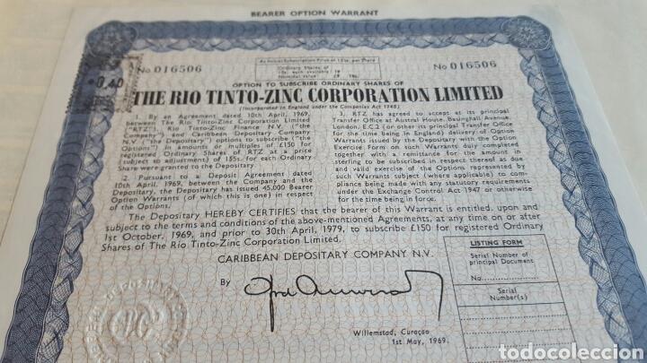 ACCION RIO TINTO RIOTINTO ZINC CO. LTD. 1969 (Coleccionismo - Acciones Españolas)