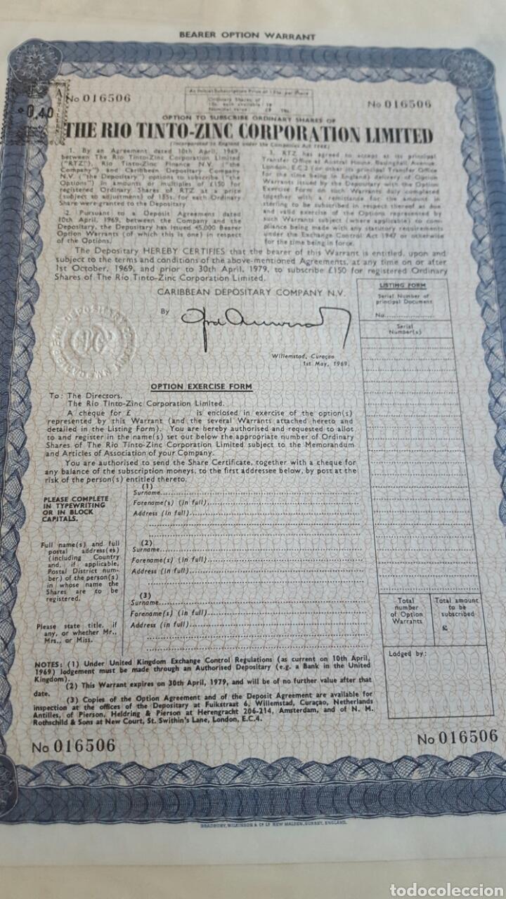 Coleccionismo Acciones Españolas: ACCION RIO TINTO RIOTINTO ZINC CO. LTD. 1969 - Foto 2 - 99805834
