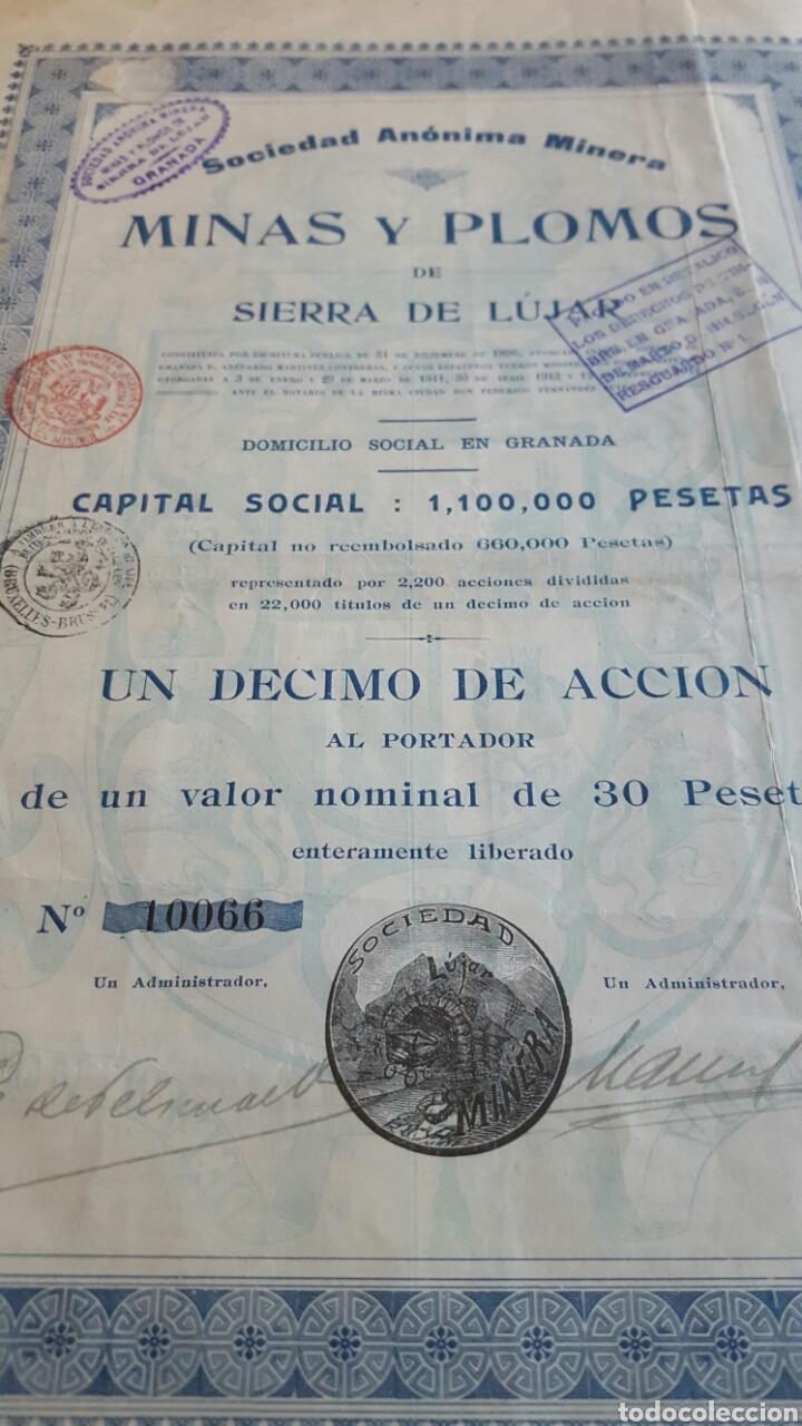 ACCION MINAS Y PLOMOS SIERRA LÚJAR GRANADA 1913 (Coleccionismo - Acciones Españolas)