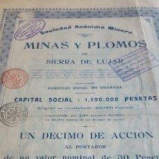 Coleccionismo Acciones Españolas: ACCION MINAS Y PLOMOS SIERRA LÚJAR GRANADA 1913. Lote 99806764