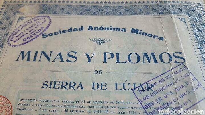Coleccionismo Acciones Españolas: ACCION MINAS Y PLOMOS SIERRA LÚJAR GRANADA 1913 - Foto 2 - 99806764
