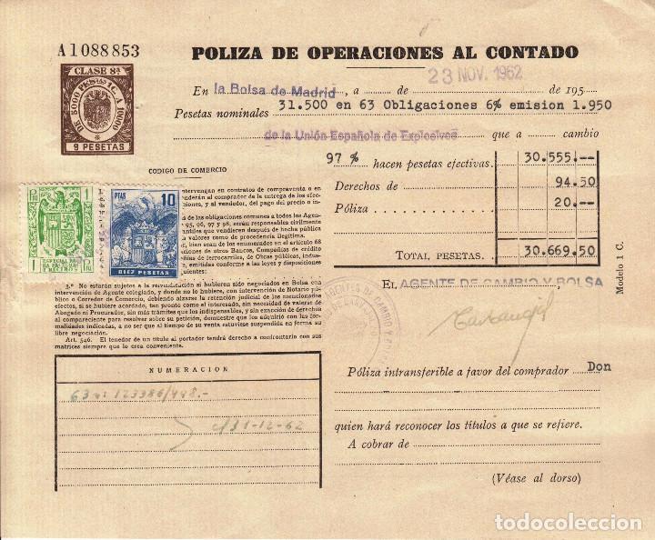 2 POLIZAS ANTIGUAS DE BOLSA- OPERACIONES AL CONTADO- 1965 (Coleccionismo - Acciones Españolas)