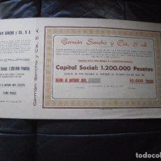 Coleccionismo Acciones Españolas: ACCION DE 10.000 PESETAS-GERMAN SANCHO Y CIA. S.A. ALMENARA (CASTELLON) 12/5/1976 MEDIDAS 45 X 23. Lote 155605202