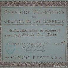 Collezionismo Azioni Spagnole: SERVICIO TELEFÓNICO DE GRAÑENA DE LAS GARRIGAS, LÉRIDA (1922). Lote 107069350