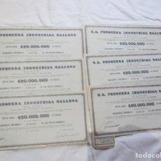 Coleccionismo Acciones Españolas: PESCA 6 ACCIONES- SA PESQUERA INDUSTRIAL GALLEGA, 1975 VIGO CORRELATIVAS, 1 CUPON 28X13CM. Lote 102098275