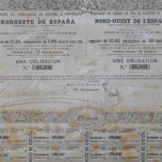 Coleccionismo Acciones Españolas: ACCIÓN OBLIGACIÓN COMPAÑÍA DEL FERRO-CARRIL DE PALENCIA Á PONFERRADA 1863 -57 REALES VELLON - PCACC. Lote 103130083