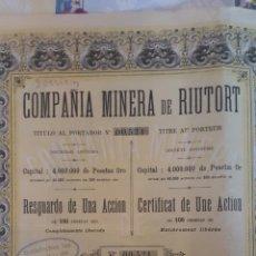 Coleccionismo Acciones Españolas: ACCIÓN MINAS CÍA. MINERA RIUTORT. GUARDIOLA DE BERGUEDÁ. 1906. BARCELONA. Lote 103765054