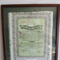 Coleccionismo Acciones Españolas: CUADRO CON ACCION F.C. METROPOLITANO DE BARCELONA AÑO 1924 ENMARCADA 39 CM X 51 CM. Lote 104683819