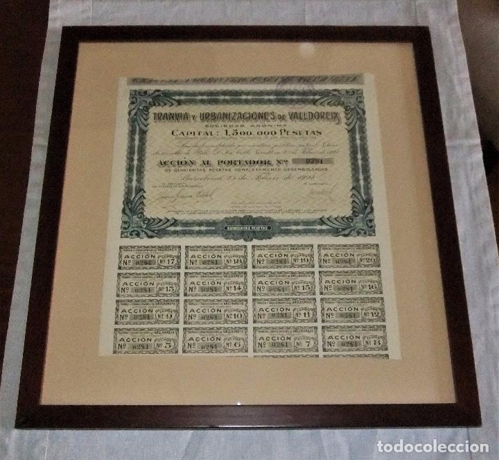 ACCIÓN DEL TRANVIA Y URBANIZACIONES DE VALLDOREIX DE 1928 (Coleccionismo - Acciones Españolas)