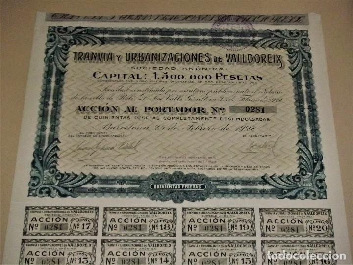 Coleccionismo Acciones Españolas: ACCIÓN DEL TRANVIA Y URBANIZACIONES DE VALLDOREIX DE 1928 - Foto 2 - 105078283