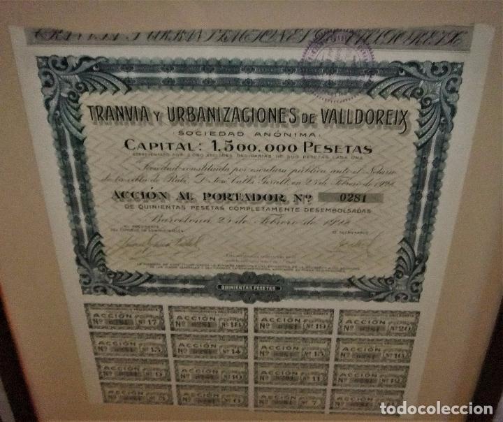 Coleccionismo Acciones Españolas: ACCIÓN DEL TRANVIA Y URBANIZACIONES DE VALLDOREIX DE 1928 - Foto 3 - 105078283