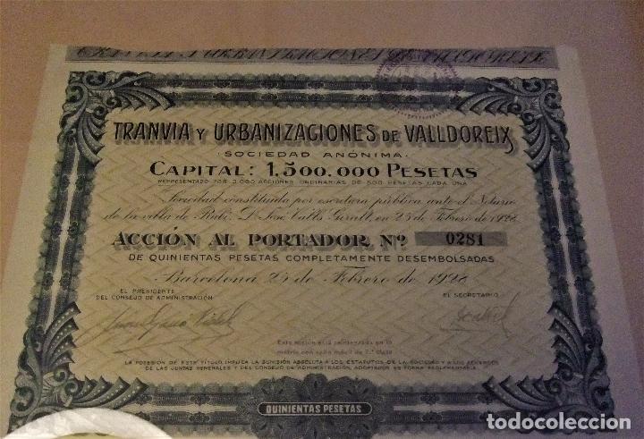 Coleccionismo Acciones Españolas: ACCIÓN DEL TRANVIA Y URBANIZACIONES DE VALLDOREIX DE 1928 - Foto 4 - 105078283