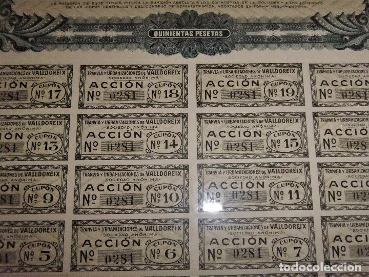 Coleccionismo Acciones Españolas: ACCIÓN DEL TRANVIA Y URBANIZACIONES DE VALLDOREIX DE 1928 - Foto 5 - 105078283