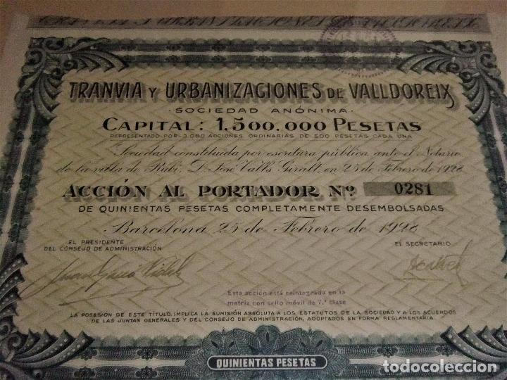 Coleccionismo Acciones Españolas: ACCIÓN DEL TRANVIA Y URBANIZACIONES DE VALLDOREIX DE 1928 - Foto 6 - 105078283