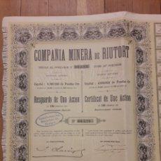 Colecionismo Ações Espanholas: COMPAÑÍA MINERA DE RIUTORT (GUARDIOLA DE BERGUEDA, BARCELONA) 1906. Lote 111531638