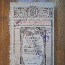 Coleccionismo Acciones Españolas: DEUDA DE LA PROVINCIA DE BARCELONA (DIPUTACIÓN PROVINCIAL) 1915. Lote 127221598