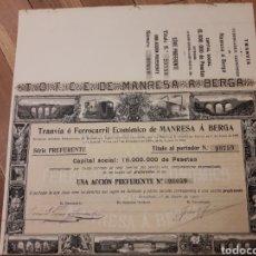 Coleccionismo Acciones Españolas: TRANVÍA O FERROCARRIL ECONÓMICO DE MANRESA A BERGA (ACCIÓNPREFERENTE) 1902. Lote 105851968