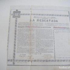 Coleccionismo Acciones Españolas: JML ACCION MINERA LA RESCATADA JAROSO CUEVAS 1º AGOSTO 1895, SIERRA ALMAGRERA, ALMERIA. VER FOTOS.. Lote 105878591