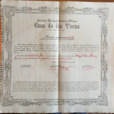 Coleccionismo Acciones Españolas: S.M.A.M. CASA DE VACAS- MINA CASA DE VACAS- CUEVAS DE ALMANZORA- 1.907. Lote 105967215