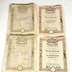 Coleccionismo Acciones Españolas: COLECCIÓN DE 5 ACCIONES PREFERENTES DEL BANCO DE REUS. CATALUÑA. 1880-1935.. Lote 105804903
