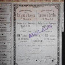 Coleccionismo Acciones Españolas: ACCIÓN - CO. DE LOS FERROCARRILES DE TARRAGONA A BARCELONA - PÓLIZAS - FISCALES - PCACC. Lote 106641503