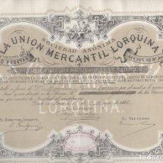 Collezionismo Azioni Spagnole: ACCION SOCIEDAD LA UNION MERCANTIL LORQUINA. LORCA. MURCIA. AÑO 1888. Lote 107275443