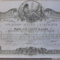 Coleccionismo Acciones Españolas: SOCIEDAD MINERA LA ATILANA - BILBAO. Lote 25323921