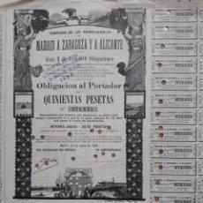 Coleccionismo Acciones Españolas: FERROCARRILES DE MADRID A ZARAGOZA Y A ALICANTE (1899). Lote 108225284