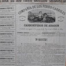 Coleccionismo Acciones Españolas: COMPAÑÍA DE LOS FERROCARRILES CARBONÍFEROS DE ARAGÓN (1871). Lote 108226922
