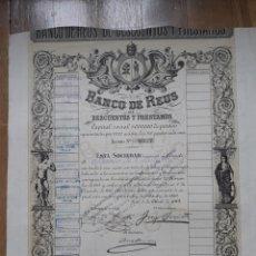Coleccionismo Acciones Españolas: BANCO DE REUS DE DESCUENTOS Y PRÉSTAMOS - 1919. Lote 25162036