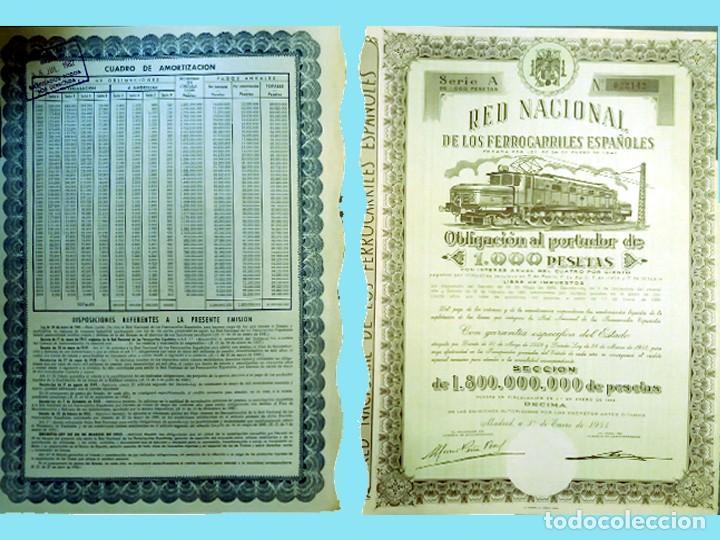 1954. RENFE - OBLIGACIÓN DE 1.000 PTS. AL 4%.. REV, CUADRO AMORTIZACIÓN. MUY DECORATIVA. (Coleccionismo - Acciones Españolas)