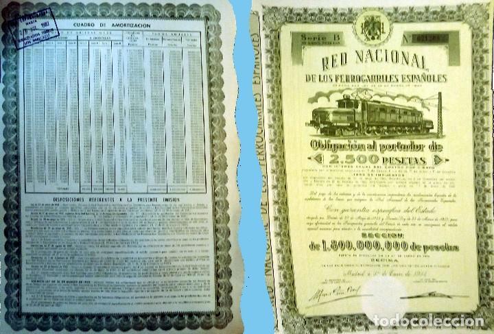 1954. RENFE - OBLIGACIÓN DE 2.500 PTS. AL 4%.. REV, CUADRO AMORTIZACIÓN. MUY DECORATIVA. (Coleccionismo - Acciones Españolas)