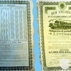 Collezionismo Azioni Spagnole: 1954. RENFE - OBLIGACIÓN DE 2.500 PTS. AL 4%.. REV, CUADRO AMORTIZACIÓN. MUY DECORATIVA.. Lote 193993605