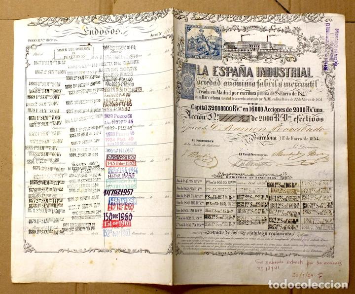 ACCION LA ESPAÑA INDUSTRIAL. BARCELONA, 1 DE ENERO DE 1854 (Coleccionismo - Acciones Españolas)