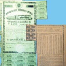 Coleccionismo Acciones Españolas: 1950. RENFE - OBLIGACIÓN DE 1.000 PTS. AL 4%.. REV, CUADRO AMORTIZACIÓN. MUY DECORATIVA.. Lote 109163299