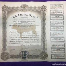 Coleccionismo Acciones Españolas: ACCIÓN LA LÍDIA SA. DE 1922 EMPRESA FUNDADA PARA LA CONSTRUCCIÓN DE LA PLAZA DE TOROS DE CHAPULTEPEC. Lote 109203995