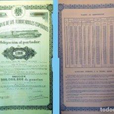 Coleccionismo Acciones Españolas: 1949. RENFE - OBLIGACIÓN SERIE A DE 1.000 PTS. AL 4%.. REV, CUADRO AMORTIZACIÓN. MUY DECORATIVA.. Lote 109319803