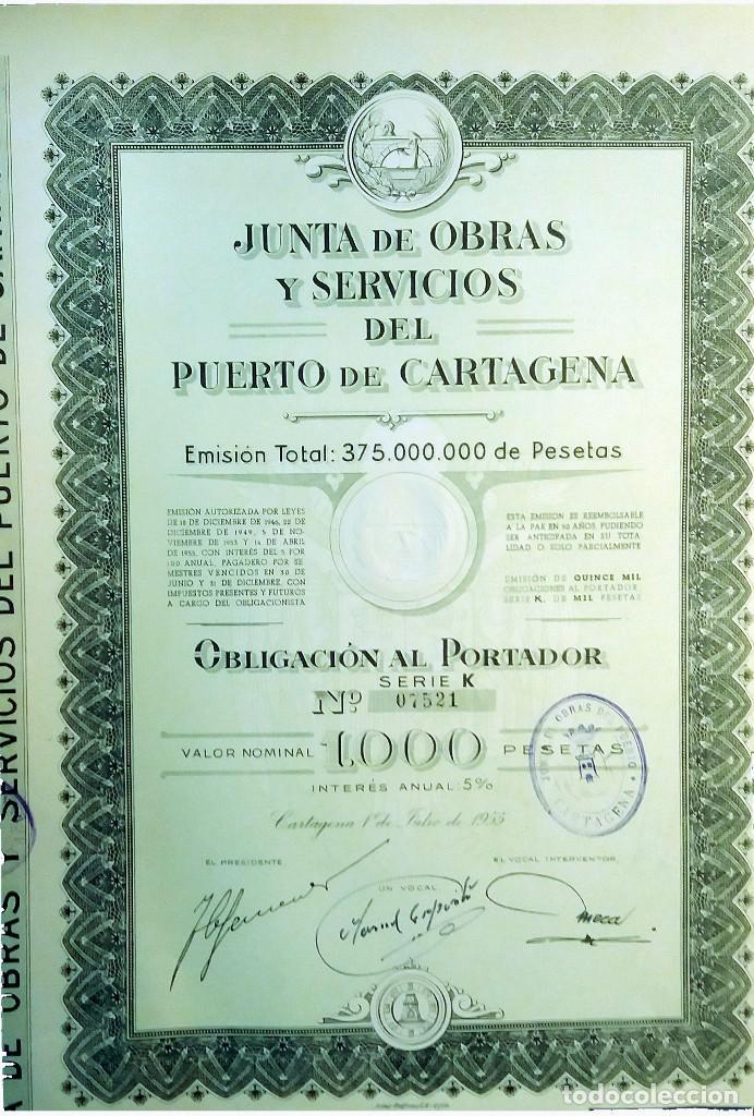 1955.- OBLIGACION DE 1000 PTAS. AL 5% DE LA JUNTA DE OBRAS Y SERVICIOS DEL PUERTO DE CARTAGENA. (Coleccionismo - Acciones Españolas)