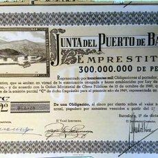 Coleccionismo Acciones Españolas: 1949.-JUNTA DEL PUERTO DE BARCELONA OBLIGACIÓN SW 1000 PTAS. AL 5%. REV. LEY DE 18 DICIEMBRE DE 1946. Lote 109521519