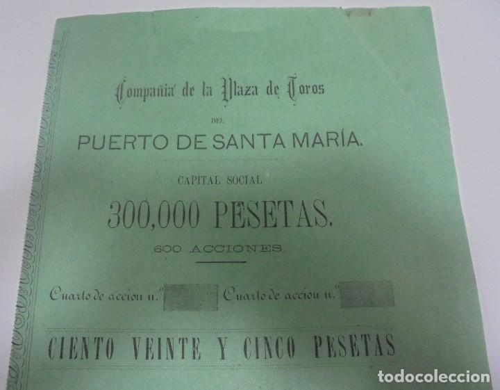 Coleccionismo Acciones Españolas: ACCION. PLAZA DE TOROS DEL PUERTO SANTA MARIA. 1877. MEDIDAS: 39 X 37 CM - Foto 2 - 109550391