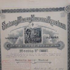 Coleccionismo Acciones Españolas: SOCIEDAD MINERA MANCHEGO ASTURIANA (1921). Lote 110116782