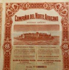 Coleccionismo Acciones Españolas: COMPAÑÍA DEL NORTE AFRICANO, 1908. Lote 110152951