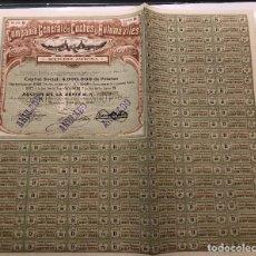 Coleccionismo Acciones Españolas: COMPAÑÍA GENERAL DE COCHES Y AUTOMÓVILES, 1910. Lote 237571170