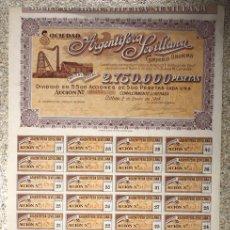 Collezionismo Azioni Spagnole: ACCION ARGENTIFERA SEVILLANA. BILBAO, 2 DE ENERO DE 1904. Lote 110203720
