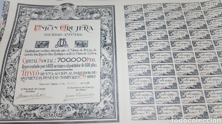 LOTE 15 ACCIONES ORUJERA PRIEGO. CÓRDOBA. 1938 (Coleccionismo - Acciones Españolas)