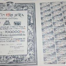 Coleccionismo Acciones Españolas: LOTE 15 ACCIONES ORUJERA PRIEGO. CÓRDOBA. 1938. Lote 110245107