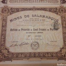 Coleccionismo Acciones Españolas: MINAS DE SALAMANCA (1908). Lote 110402807