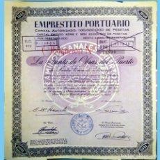Coleccionismo Acciones Españolas: 1952.-EMPRESTITO PORTUARIO STA. CRUZ DE TENERIFE.OBLIGACION DE 1000 PTS.REV. ANAGRAMA Y GRECAS, LILA. Lote 110436223