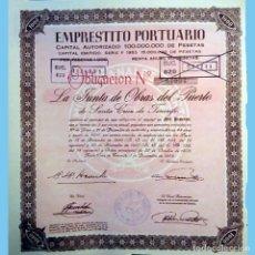 Coleccionismo Acciones Españolas: 1953.-EMPRESTITO PORTUARIO STA. CRUZ DE TENERIFE.OBLIGACION DE 1000 PTS.REV. ANAGRAMA Y GRECAS, ROSA. Lote 110436319