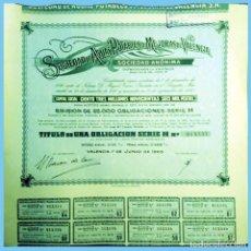 Coleccionismo Acciones Españolas: 1965.- OBLIGACION DE 1000 PTS. SDAD. AGUAS POTABLES Y MEJORAS DE VALENCIA. 8 CUPONES.REV. CONDICIONE. Lote 110437383